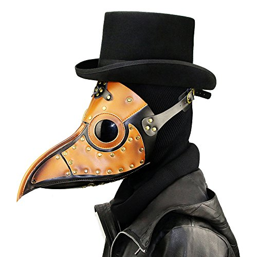 Chns Halloween Party Mask Unique Design Hand Made Leather Plague Doctor Halloween Costume Props Brown