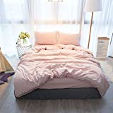 VANSILK 100% Cotton Super Soft Pompon Fringe 4 Pieces Duvet Cover Bedding Set(1 Duvet Cover + 1 Fitted Sheet + 2 Pillowcases) With Hidden Zipper Pink