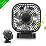 COMLIFE Battery Operated Desk Fan with Large Capacity of 4000mAh, 3 Speeds with Timer, 7 Blades, Super Quiet, Powered by USB or Rechargeable Battery, Perfect Small Personal Fan for Table & Outdoor