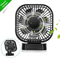 COMLIFE Battery Operated Desk Fan with Large Capacity of 4000mAh, 3 Speeds with Timer, 7 Blades, Super Quiet, Powered by USB or Rechargeable Battery, Perfect Small Personal Fan for Table &Outdoor