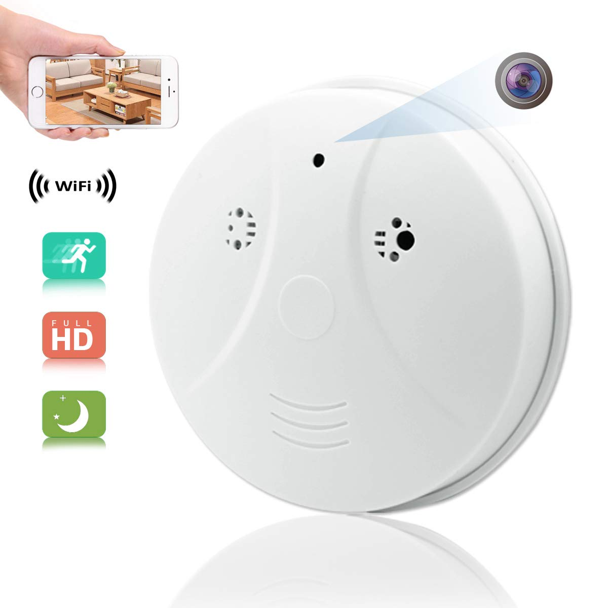 Winsper HD 1080P WiFi Hidden Spy Camera Smoke Detector, Mobile Phone Remote Monitoring Motion Detection Mini Video Recorder for Home Office Store