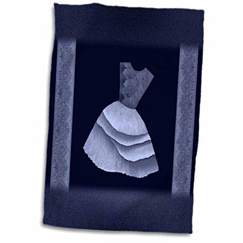 3dRose Jaclinart Dress Flowers Floral Nature Damask Ribbons - Denim blue flowered top dress on navy blue backround with damask ribbons - 12x18 Towel (twl_30262_1) (Navy Blue Flowered)