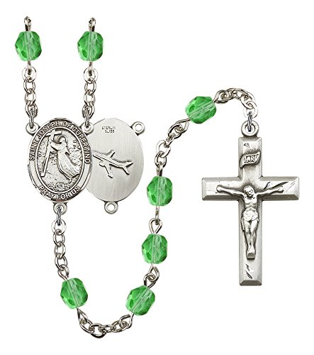 Silver Finish St. Joseph of Cupertino Rosary with 6mm Peridot Color Fire Polished Beads, St. Joseph of Cupertino Center, and 1 3/8 x 3/4 inch Crucifix, Gift ()