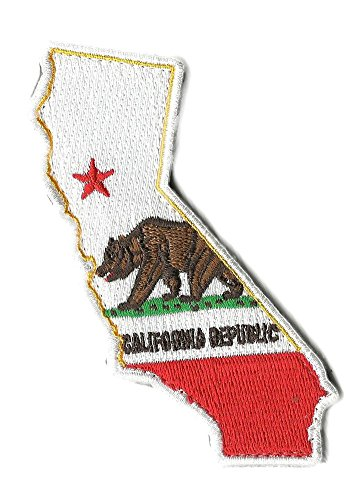 "Die Cut California State Patch - 1.25"" x 4.5"" - Full Color"