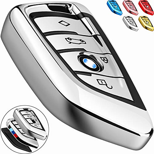 - COMPONALL for BMW Key fob Cover, Key Fob Case for BMW 2 5 6 7 Series X1 X2 X3 X5 X6 Premium Soft TPU Anti-dust Full Protection, Silver