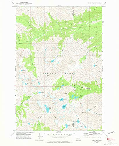 YellowMaps Crazy Peak MT topo map, 1:24000 Scale, 7.5 X 7.5 Minute, Historical, 1972, Updated 1976, 26.9 x 22 in - Paper