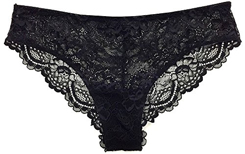 Samantha Chang Women's All Lace Classic Brief (Small, Black)
