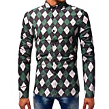 Bestoppen Mens Fashion Printed Blouse Casual Long Sleeve Slim Shirts Tops