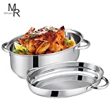 Mr. Rudolf 18/10 Stainless Steel 15-inch Oval Roaster with Rack and Lid Dishwasher Safe Oven Safe Oval Roasting Pan PFOA Free 8.5 Quart + 4.2 Quart