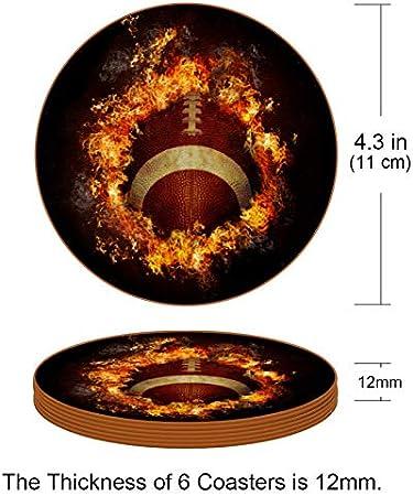 Redondo Portavasos Fútbol de Fuego Posavasos de Cuero Juego de 6 Coaster para Vaso/Copa de Bebida/Copa de Vino Tinto/Copas/Vaso de Cerveza 11x11 cm