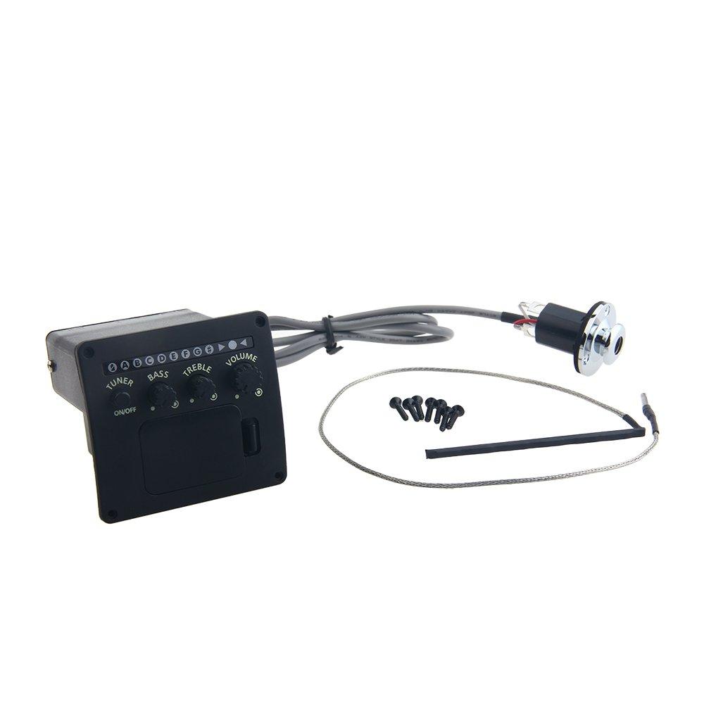 Kmise Z5215 Black 3 Band Acoustic Guitar EQ Equalizer Set Preamp Pickup Piezo