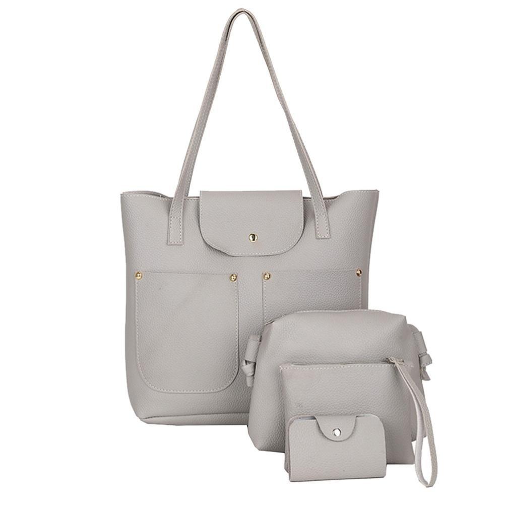 Pocciol Hot Sale Handbag for Women PU Leather Shoulder Bags Tote Satchel 4pcs Purse Set (Style-Gray)