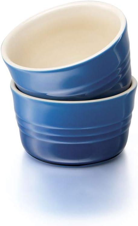 10 cm Azul LE CREUSET Set de 2 ramequines Redondo Cer/ámica de gres Cada uno 200 ml///Ø 9,5 cm