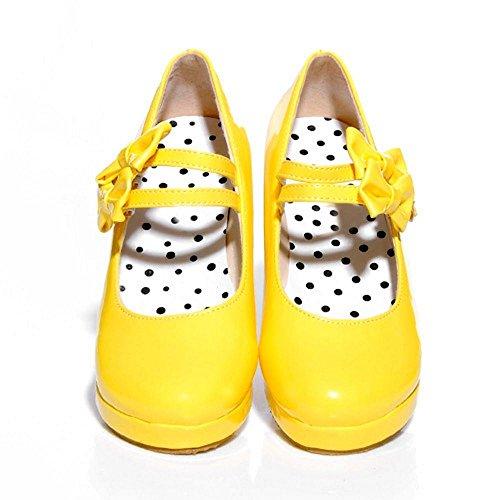 Cute TAOFFEN Women's 6313 Yellow Flatform Shoes Oc5POdwq0