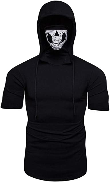 Mens Mask Skull Pure Color Pullover Sweatshirt Long Sleeve Hooded Cotton Tops Blouse