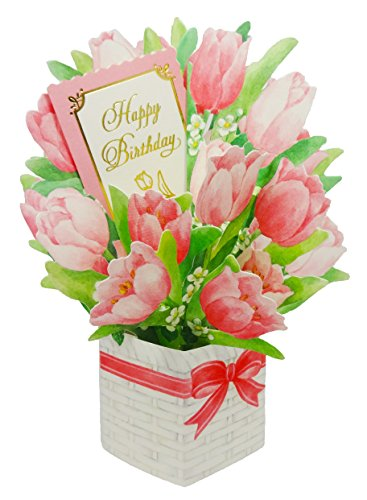 (SANRIO Happy Birthday Flower Bouquet - Tulip - Pop Up Greeting Card)