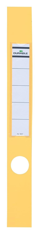 DURABLE 809104 - Ordofix, copridorso adesivo, personalizzabile, per raccoglitori larghi 50 mm, 40x390 mm, giallo, confezione da 10 pezzi