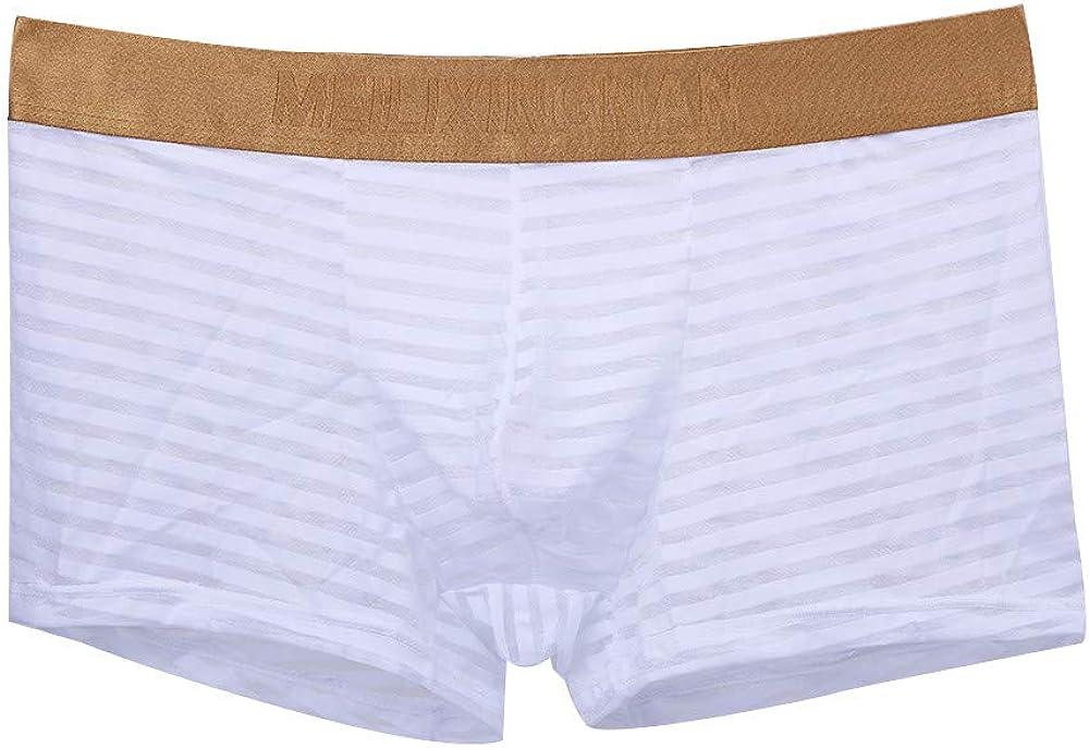LCLrute cnnIUHA 5PC Mens Elastic Underwear Men Boxer Briefs Shorts Pouch Soft Underpants White