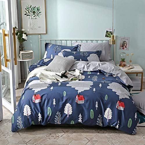 Duvet Cover Set Twin,Children Bedding Sets Girls Boys Teens Forest Style,1 Duvet Cover 2 Uniquewith Pillowcases,Zipper Closure 4 Corner Ties(Blue, Twin)
