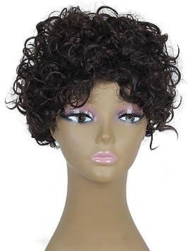 resistentes peluca pelo falso corto pelucas baratas de calor marrón oscuro rizado Afro sintéticos para las