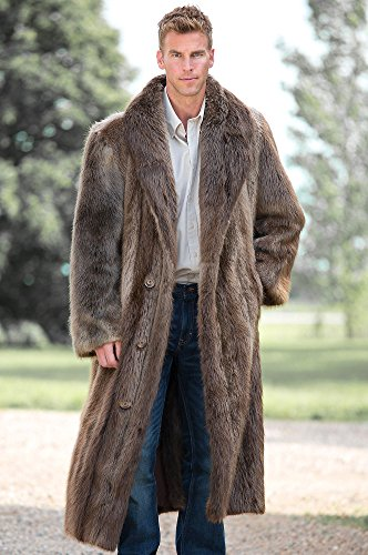 Dominic Full-Length Double-Breasted Longhaired Beaver Fur Coat, BLONDE, Size 42