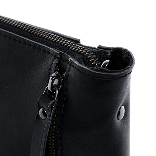 handbag Black JEMMA real inch leather shoulder FEYNSINN clutch women´s ZIP amp; bag laptop hobo woman bag ipad indigo fits bag qnRwwTHXF