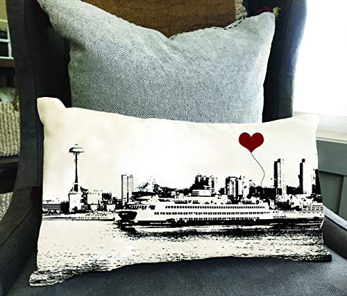 Seattle Space Needle Ferry Boat Rectangular Cotton Canvas Throw Pillow