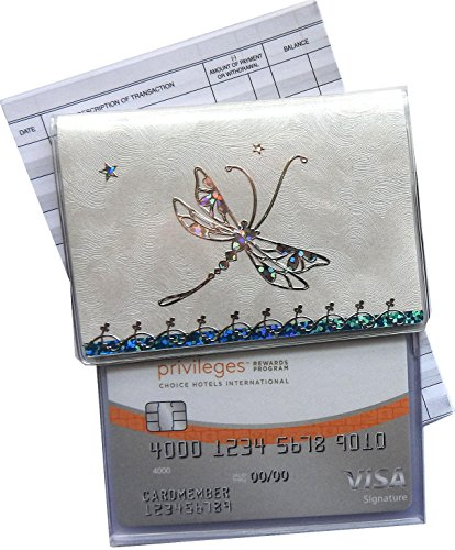RFID Protected Blue Dragonfly Debit Card Holder with Register & Photo Insert -