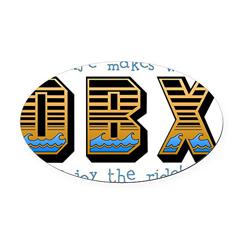 CafePress - OBX Waves Oval Car Magnet - Oval Car Magnet, Euro Oval Magnetic Bumper Sticker