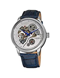 Akribos XXIV Men's AK538BU Mechanical Skeleton Leather Strap Watch