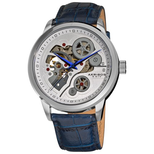 Akribos XXIV Men's AK538BU Mechanical Skeleton Leather Strap Watch