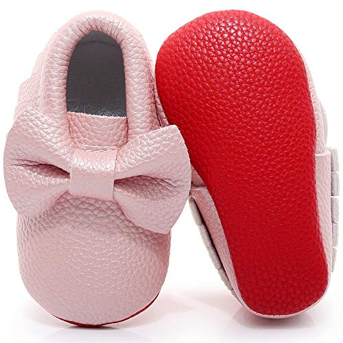 Double Bow Baby Moccasins -  Soft Red Sole Baby Shoes Toddler Infant Fringe Girls Shoes  (6.5M US Toddler, Pink)