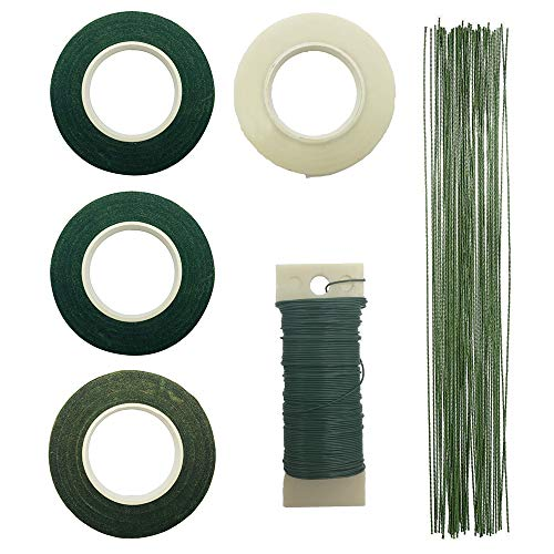 Hipalm Floral Craft Tool Kit Including 4 Rolls 1/2 Inch Floral Tapes, 100 Pieces 26 Gauge Stem Wire and One 22 Gauge Paddle Wire for Bouquet Stem Wrap