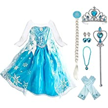 LOEL Snow Queen Elsa Princess Party Dress Costume Birthday Party Dress Up for Little Girls