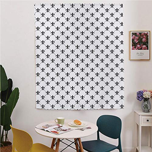 Fleur De Lis Blackout Window curtain,Free Punching Magic Stickers Curtain,Checkered Dotted Pattern with Monochrome Abstract Lily Flower Ancient Revival Decorative,for Living Room,study, kitchen, dormi