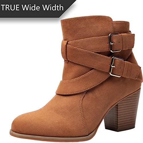 Luoika Women's Wide Width Ankle Boots - Buckle Strap Block Heel Side Zipper Plus Size Booties.(180615,Brown,9WW)