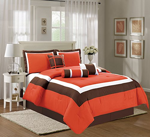 7 Piece FULL Size (Double Bed) ORANGE / BROWN / BEIGE Color Block MILAN Goose Down Alternative Comforter set 88
