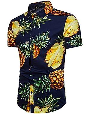 Men's Pineapple Shirt Button Down Tropical Floral Shirt