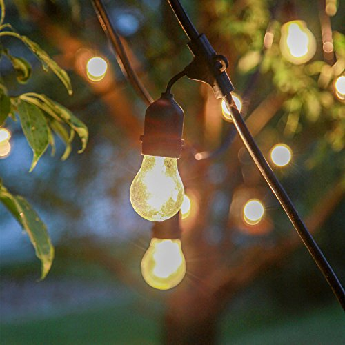 outdoor patio string lights commercial grade 48 ft strand with 15 edison style bulbs. Black Bedroom Furniture Sets. Home Design Ideas