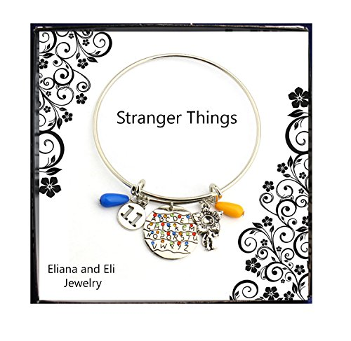 Stranger Things Bracelet Hand Stamped Alphabet Light Wall Pendant with Monster Charms Eleven Letters Beads Bangle