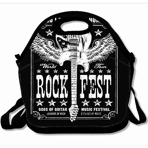 Ahawoso Reusable Insulated Lunch Tote Bag Band Vintage Guitar Music Rock Graphic Album Country Ornate Roll Sound Tour Event Tee Modern Stage 10x11 Zippered Neoprene School Picnic Gourmet Lunchbox