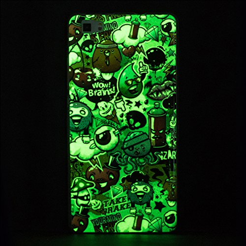 Funda Huawei P8 Lite, P8 Lite Luminoso Funda, SpiritSun Soft Carcasa Funda para Huawei P8 Lite (5.0 pulgadas) Ultra Delgado y Ligero Flexible TPU Caja Diseño Fluorescente Funda Carcasa Cristal Gel Pro Pequeños Monstruos