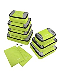 Gonex Packing Cubes Set 9PCs Travel Organizers Luggage Organizers Pouches Including Laundry Bag Light Green
