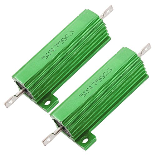 2 x Chassis Mounted 50W 750 Ohm 5% Aluminum Case Wirewound Resistors