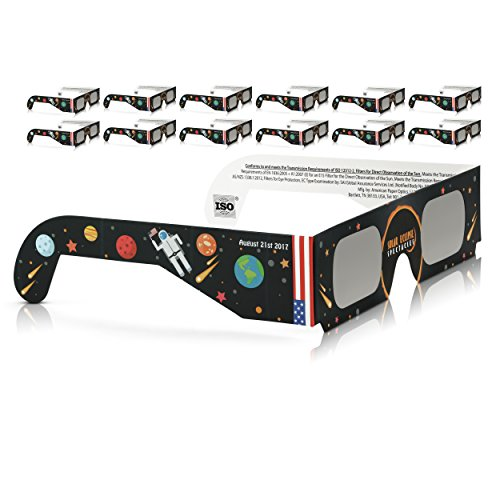 Solar Eclipse Glasses CE and ISO Certified - Safe Solar Viewing - Viewer and Filter - Made in USA (12 Pack) - Astronaut (Scientific Glass Block)