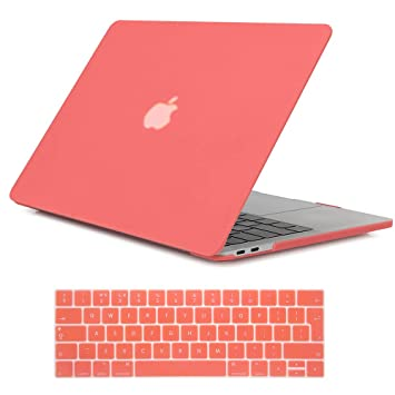 Se7enline - Carcasa rígida para Apple MacBook de 13 y 15 Pulgadas (Tacto Suave), diseño de satén, Color Blanco y Negro Naranja Living Coral 2016-2018 ...