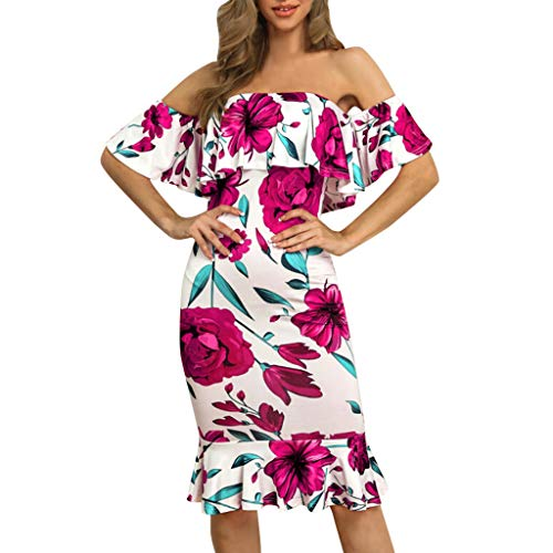 - Women Dress JJLOVER Floral Print Cross Strappy Bodycon Dress Cold Shoulder Lace Short Sleeve Sexy Party Wrap Dress