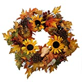 "famibay 20"" Fall Christmas Thanksgiving Harvest Wreath Artificial Autumn Maple Leaf Garland with Fake Pumpkins and Pine Cone for Front Door Party Wedding Indoor Outdoor Halloween Holiday Decor"