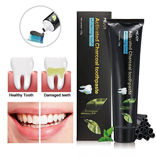 Activated Charcoal Toothpaste - Teeth Whitening Natural Charcoal Toothpaste, Best Whitener Black Toothpaste - Removes Tooth Stains and Bad Breath - Mint Flavor   Fluoride Free, no SLS   120g (4.2 Oz)