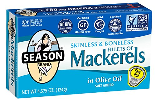 Season Skinless and Boneless Fillets of Mackerel in Olive Oil, 4.375-Ounce Tins (Pack of 6) ()